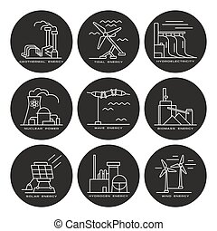Vector set of web icons on electricity generation plants and...
