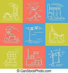 Vector set of web icons on electricity generation plants and sources