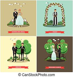 Vector set of wedding ceremony posters in flat style