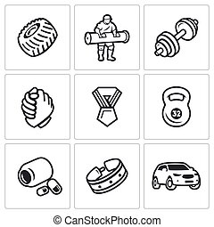 Vector Set of Weightlifting Show Icons. Wheel, Athlete, Barbell, Arm wrestling, Award, Kettlebell, Protein, Belt, Car.
