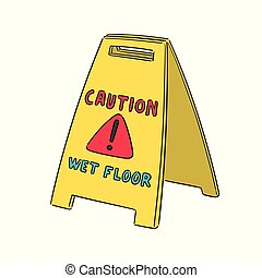 vector set of wet floor sign