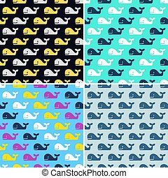 vector set of whale fish seamless patterns