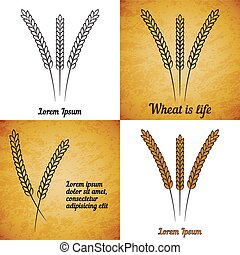 Vector set of wheat ears on different layers