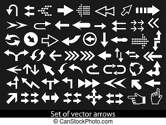 Vector set of white arrows on a black background.