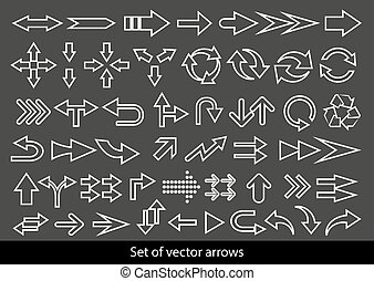 Vector set of white arrows on black background.