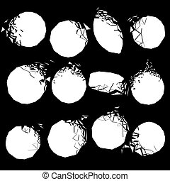Vector set of white broken shapes