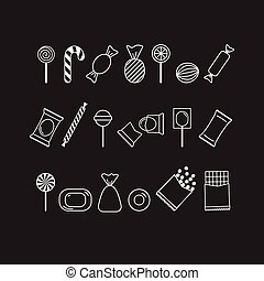 Vector set of white outline candy icons on black background. Can