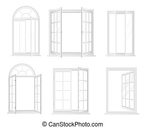 Vector set of white realistic windows isolated.