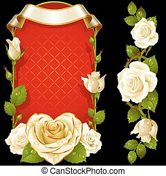 Vector set of White Roses Decoration