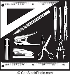 Vector set of white school and office supplies