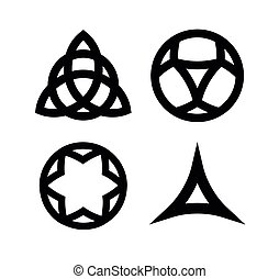 Vector Set of Wiccan symbols and icons isolated on white...