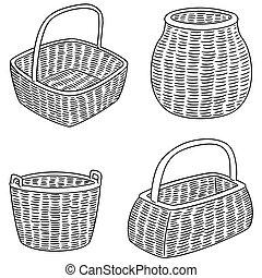 vector set of wicker baskets