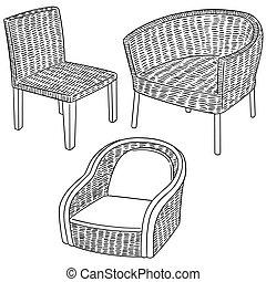 vector set of wicker chair