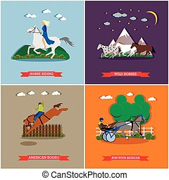 Vector set of wild and domestic horses flat design