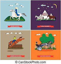 Vector set of wild and domestic horses flat design