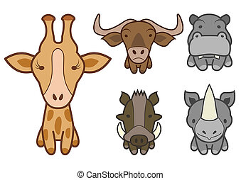 Vector set of wild or zoo animals.