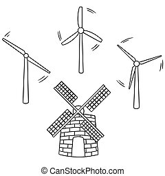 vector set of wind turbine