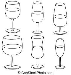 vector set of wine glass