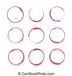 Wine stain circles - Vector set of Wine stain circles...