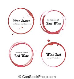 Vector set of Wine stain circles, splashes and spot isolated on white background for logo design. Watercolor hand drawing glass marks.