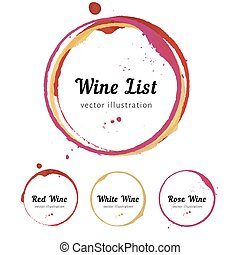 Vector set of Wine stain circles, splashes and spot isolated on white background for wine card, list, menu. Watercolor hand drawing glass marks.