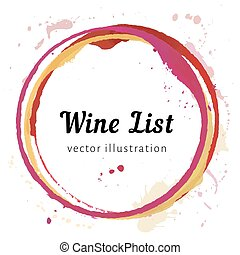 Vector set of Wine stain circles, splashes and spot isolated on white background for wine list. Watercolor hand drawing glass marks.