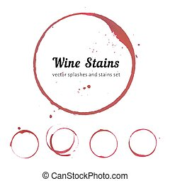 Vector set of Wine stain circles, splashes and spot isolated on white background. Watercolor hand drawing glass marks.