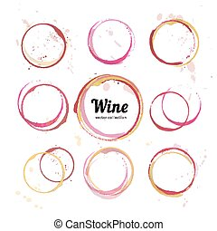 Vector set of Wine stain circles, splashes and spot isolated on white background. Watercolor hand drawing glass marks for bar wine list