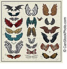 vector set of wings