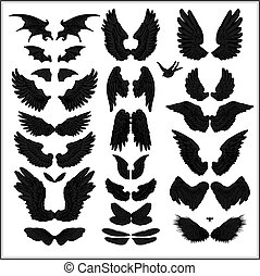 vector set of wings isolated on white background