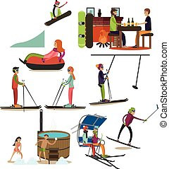 Vector set of winter fun flat icons