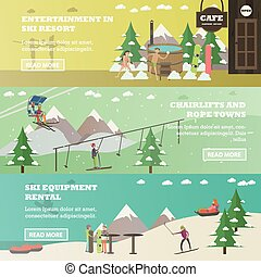 Vector set of winter fun horizontal banners in flat style