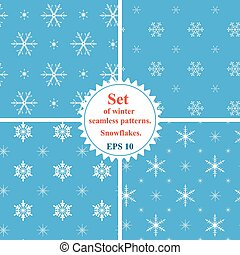Vector. Set of winter seamless patterns with snowflakes. Snowfla