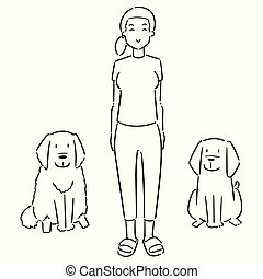 vector set of woman and dogs
