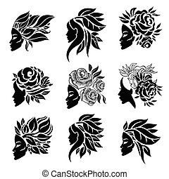 Vector set of woman illustration with beautiful hair