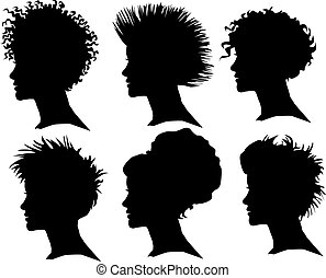 woman silhouette with extreme hair - vector set of woman...