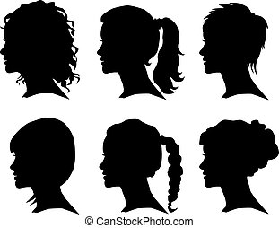 woman silhouette with hair styling - vector set of woman ...