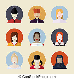 Vector set  of women avatars  different nationalities in flat style