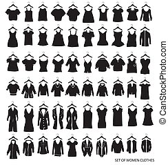 women outerwear and dresses on a white background - vector...