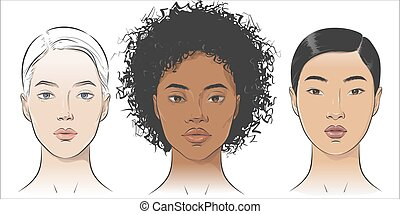 Vector Set of women portraits African African-american, asian, European.