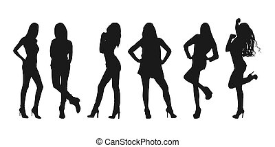 Vector set of women's flat silhouettes isolated on a white background, simple design.