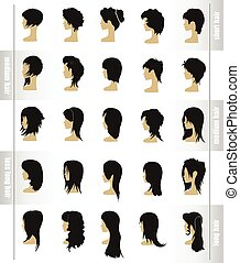 vector set of women's hairstyles and haircuts