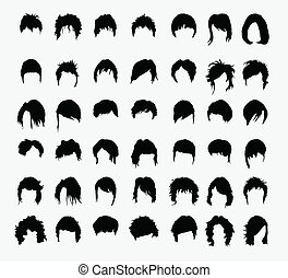 vector set of women's hairstyles