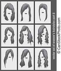 vector set of women's hairstyles on the white background
