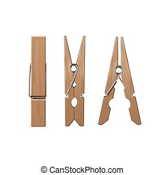 Vector Set of Wooden Clothespins Pegs Front Side View Close up Isolated on White Background