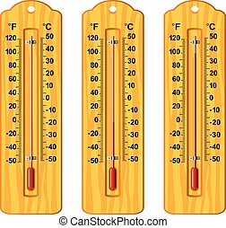 vector set of wooden thermometers at different levels