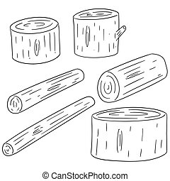 vector set of wooden timber