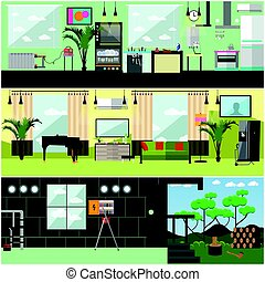 Vector set of working interior posters, banners in flat style