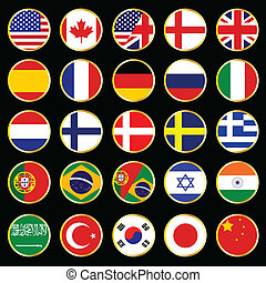 world flag buttons - vector set of world flag buttons