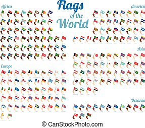 Vector set of world flags isolated on white background. Complete collection. High detail.